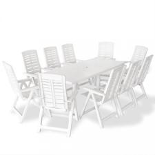 11 részes fehér műanyag kültéri étkezőgarnitúra kerti bútor