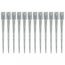 12 db ezüstszínű horganyzott acél kerítéstüske 9 x 9 x 90 cm építőanyag