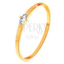14K sárga arany gyűrű - átlátszó búzaszem cirkónia, vékony sima szárak gyűrű