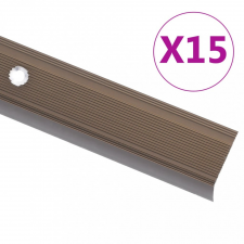 15 db barna L-alakú alumínium lépcsőélvédő 100 cm építőanyag