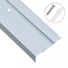 15 db ezüstszínű L-alakú alumínium lépcső élvédő 100 cm építőanyag