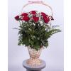 20 szálas, hosszúkás stílusú rózsakosár