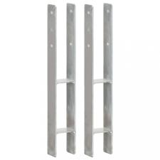 2 db ezüstszínű horganyzott acél kerítéshorgony 8 x 6 x 60 cm építőanyag