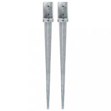 2 db ezüstszínű horganyzott acél kerítéstüske 8 x 8 x 91 cm építőanyag