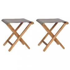 2 db sötétszürke tömör tíkfa és szövet összecsukható szék kerti bútor