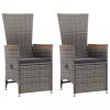 2 db szürke dönthető háttámlás polyrattan kerti szék párnával
