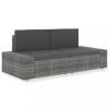 2 személyes szürke elemes polyrattan kanapé