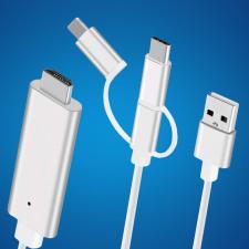 3 az 1-ben HDMI átalakító, Lightning + USB + USB type-C + micro-USB kábel és adapter