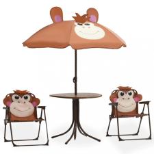 3 részes barna kerti gyerekbisztrószett napernyővel gyermekbútor