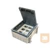 45-ös rendszerű padló doboz, 12 modulhoz, üresen panel méretei: 170x130 mm, padlódoboz méretei: 222x184x82 mm