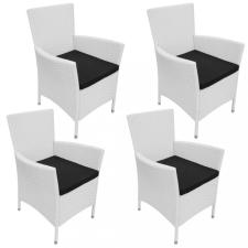 4 db krémfehér polyrattan kerti szék párnával kerti bútor