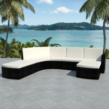 4 részes fekete polyrattan kerti bútorszett párnákkal kerti bútor