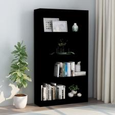 4-szintes fekete forgácslap könyvszekrény 80 x 24 x 142 cm bútor