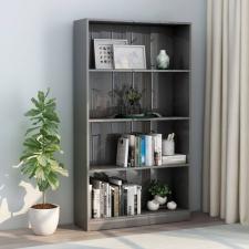 4-szintes fényes szürke forgácslap könyvszekrény 80x24x142 cm bútor
