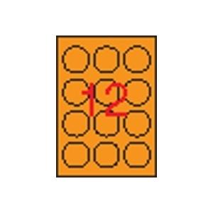 APLI körcímke, 60 mm átmérő, neon narancs, 240 etikett/csomag