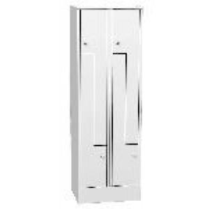 """K730/2 4-ajtós öltözőszekrény lábazattal, """" Z"""" alakú ajtókkal"""
