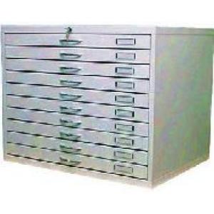VKS 01 B térképtároló szekrény A/1 méretű, 10 fiókos