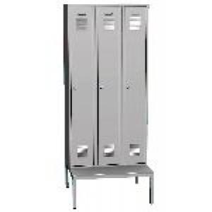 K2445 L 3-ajtós öltözőszekrény ülőpaddal