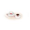 ROTBERG Mokkás készlet, fehér porcelán piros-fekete mintá val, 5,5 cm átmérő
