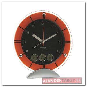 Meteora, asztali óra, analóg kijelzővel, ezüst/narancs