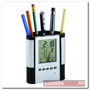 LCD ébresztőóra tolltartóval, ezüst
