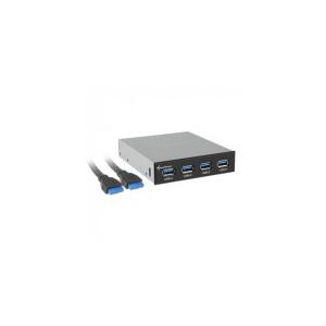"""Sharkoon Frontpanel C - USB3.0 Hub (3, 5"""" helyre építhető; 4port; USB3.0; fekete; alaplapi USB csatlakozó)"""