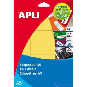 APLI Körcímke 19 mm átmérő sárga A5 70 etikett/lap 560 etikett/csomag