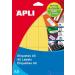 APLI Körcímke 16 mm átmérő sárga A5 88 etikett/lap 704 etikett/csomag