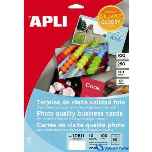 APLI Előre vágott névjegykártyák 89 x 51 mm 250 gr fotóminőségű tintasugaras nyomtatóhoz 100 lap/csom