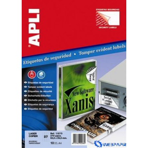APLI Biztonsági etikett köralakú 40 mm átmérő 240 etikett/csomag 10 lap/csom