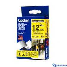 Brother 12 mm-es szalag erős tapadású sárga alap/ fekete betű címkézőgép