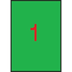 APLI Neon zöld etikett, 210 x 297 mm, 20 etikett/csomag