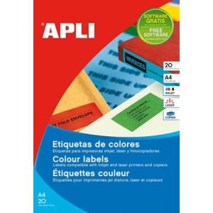 APLI 1 pályás színes etikett, 210 x 297 mm, sárga, 20 etikett/csomag