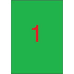 APLI 1 pályás színes etikett, 210 x 297 mm, zöld, 100 etikett/csomag