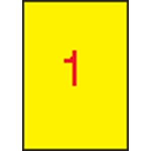 APLI 1 pályás színes etikett, 210 x 297 mm, sárga, 100 etikett/csomag