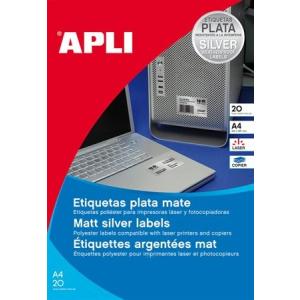 APLI 1 pályás etikett, 210 x 297 mm, ezüstszínű, matt, 20 etikett/csomag