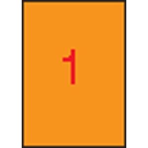 APLI Neon narancs etikett, 210 x 297 mm, 20 etikett/csomag