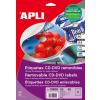APLI Mega CD/DVD-címke, matt, eltávolítható, külső átmérő 114 mm, belső átmérő 18 mm