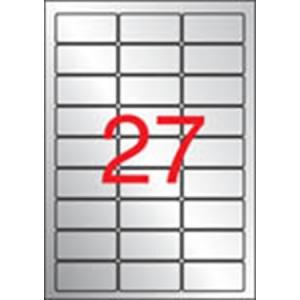 APLI 3 pályás etikett, 63,5 x 29,6 mm, kerekített sarkú, ezüstszínű, matt, lézer nyomtatóhoz, 540 etikett/csomag