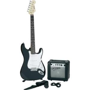 E-gitár készlet erősítővel, fekete