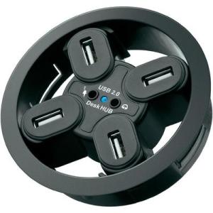 Conrad USB 2.0 beépíthető hub, 4 portos, 80 mm + audio hüvelyek