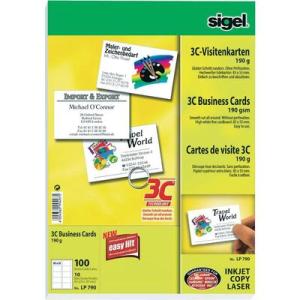 SIGEL Sigel 3C névjegykártyák, 85 x 55 mm, 190 g/m?, 100 db, LP790