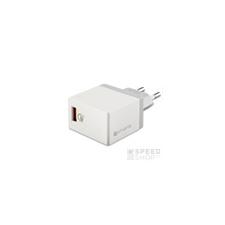 4smarts VoltPlug hálozati gyorstöltő adapter, QC 3.0, 3A, fehér kábel és adapter