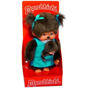 Monchhichi - lány figura kék ruhában kicsinyével - 20 cm