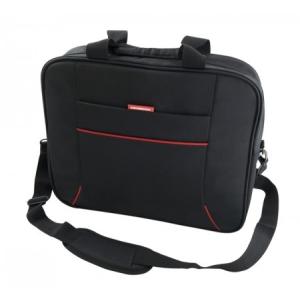 """Modecom 15-16"""" York T1 - Notebook Táska (külön rekeszek; vállpánt; fekete, piros csíkkal)"""