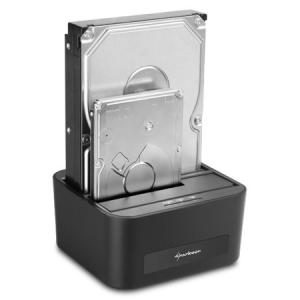 """Sharkoon QuickPort XT USB3.0 Duo - HDD Dokkoló (2x 2,5""""-3,5"""" SataHDD; USB3.0 csatlakozó; fekete)"""