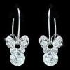 Függő pillangó fülbevaló Swarovski jellegű  kristályokkal, fehérarany bevonattal  + AJÁNDÉK DÍSZDOBOZ