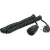 Conrad AS SCHWABE Hálózati hosszabbító spirálkábeles 2,5m fekete HO5VV-F 3 G 1,5 mm²