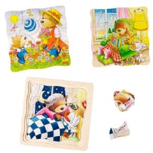 Négyrétegű fa puzzle - Kismackók