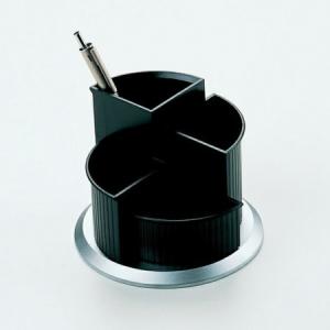 HELIT Írószertartó, forgatható, HELIT, fekete-ezüst